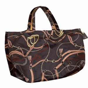 ADAMSBORO Brown Velvet Equestrian Theme Bag NWT